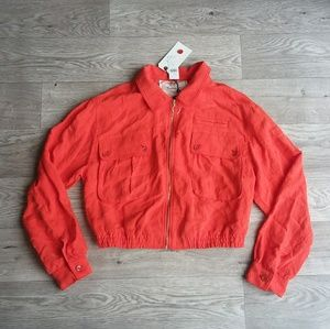 Anthropologie orange bomber jacket coat Medium
